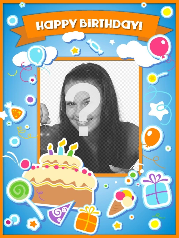 Tarjeta Para Felicitar El Cumpleaños Y Poner Una Foto Online Con Una