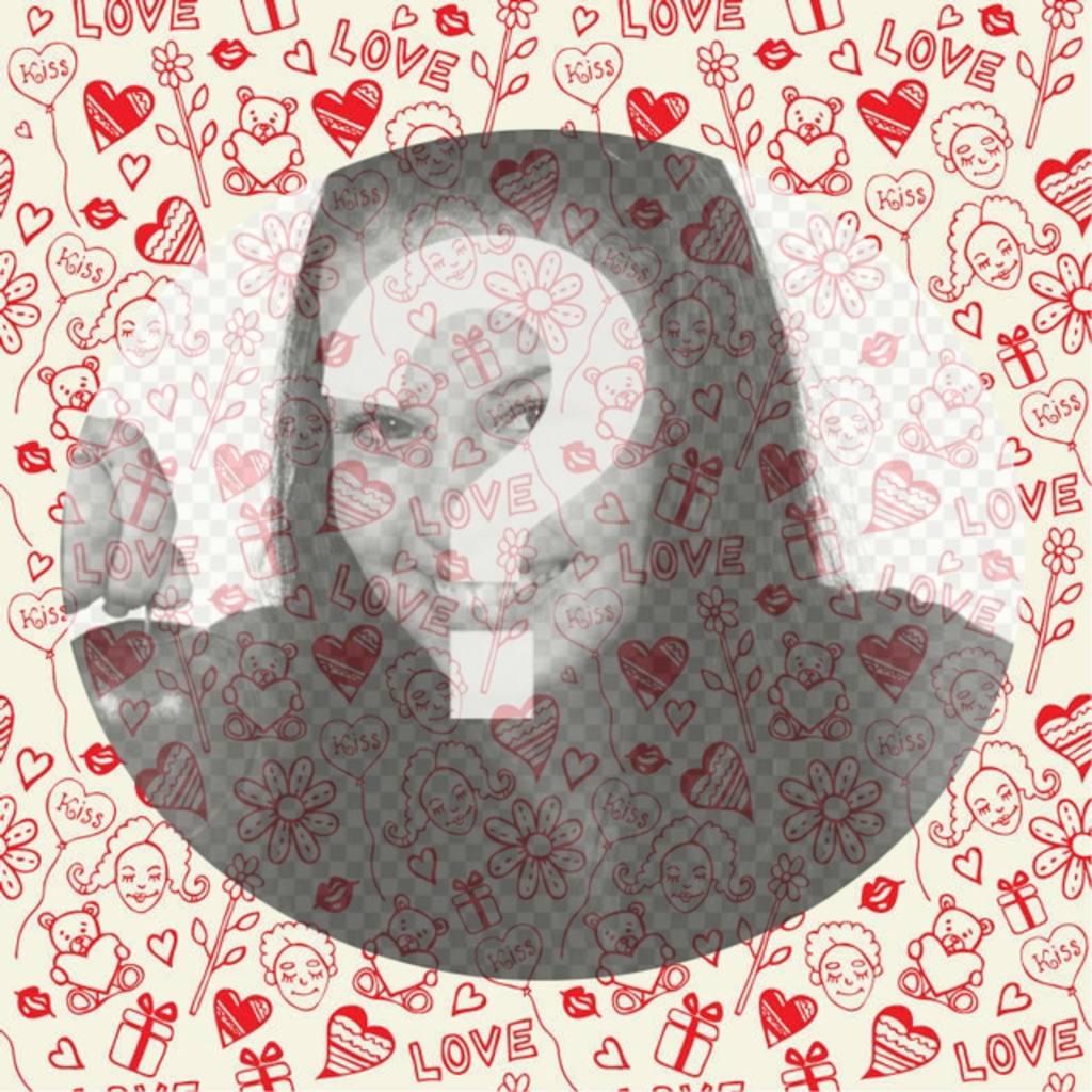 marco fotos romantico dibujos corazones ositos mosaico centro semitransparente