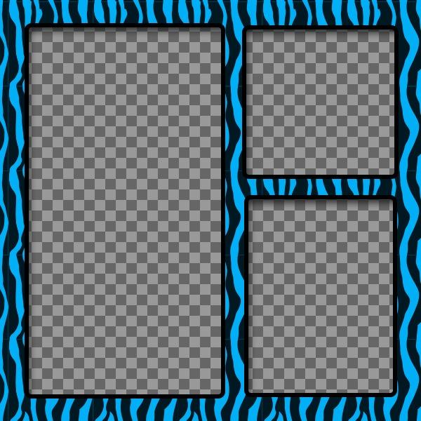 Marco de fotos azul y negro con estampado animal para tres fotos