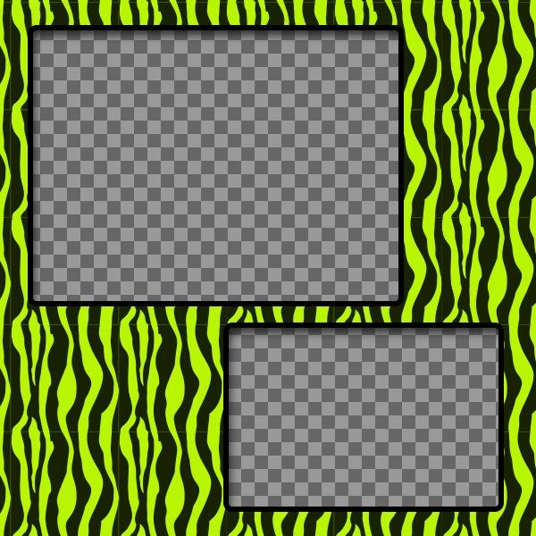 Crea un collage con dibujo de cebra verde y amarillo y dos fotos tuyas online