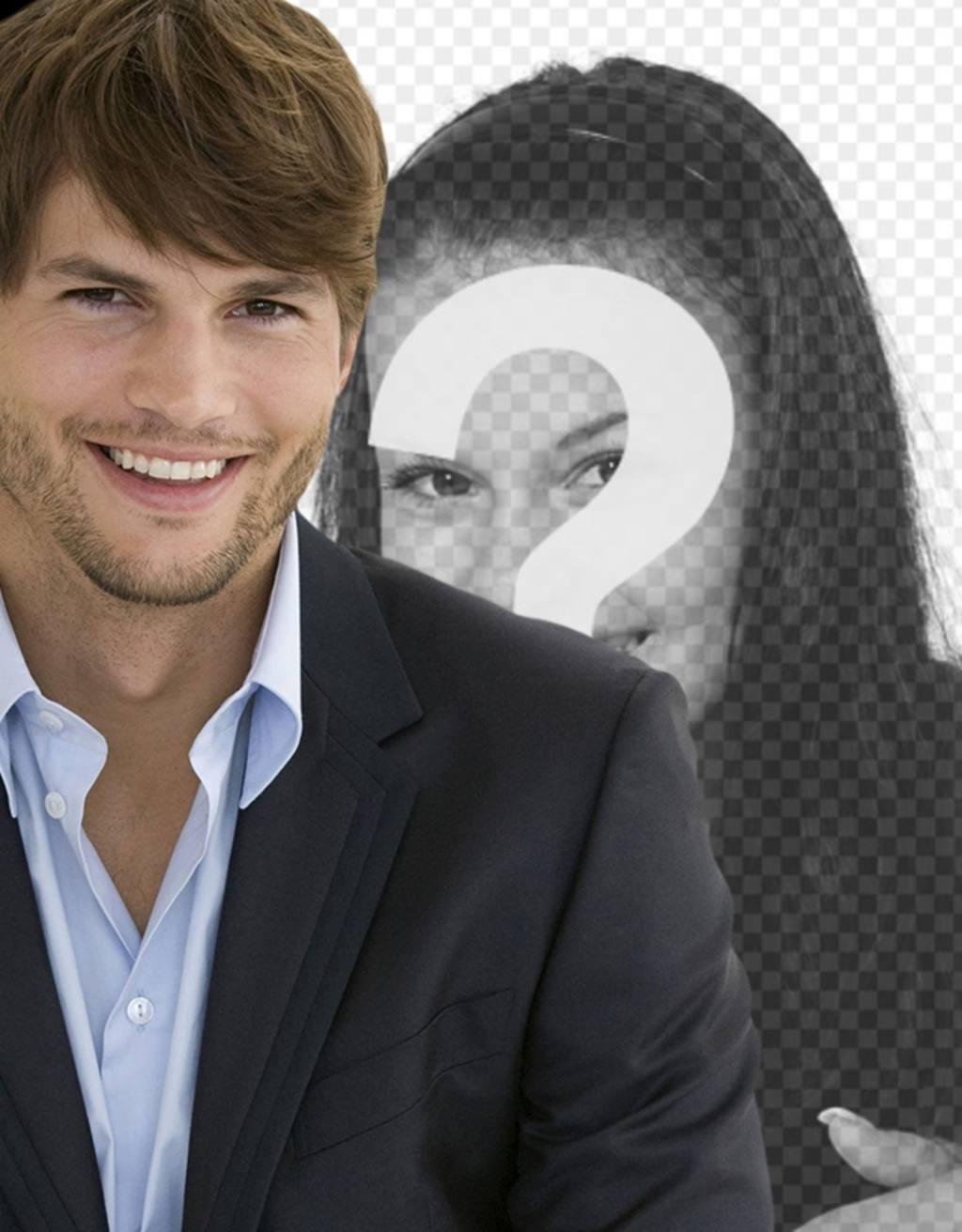 fotomontaje ashton kutcher vestido traje barba tres dias pelo corto foto