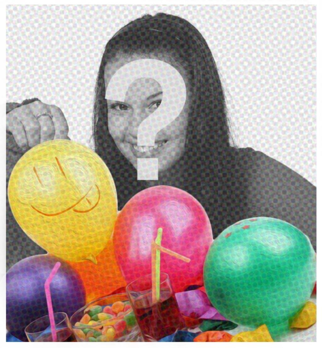 tarjeta fiesta cumpleanos un filtro tipo comic unos globos poner imagen detras felicitar quieras