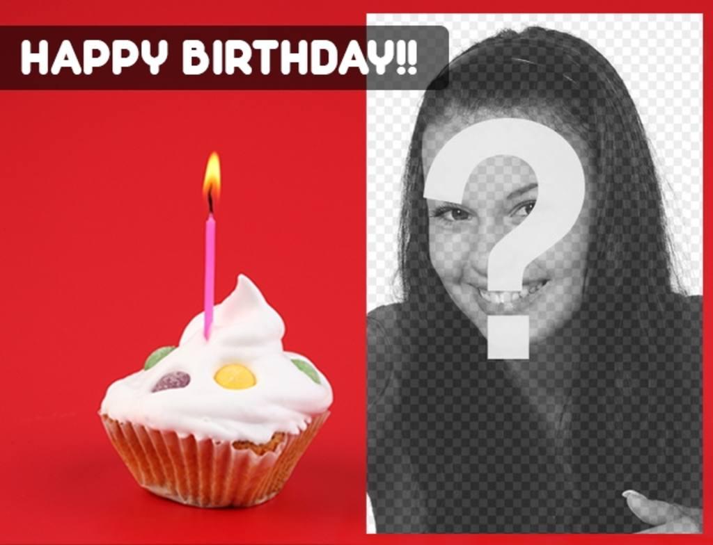 Postal de cumpleaños con fondo rojo y un pastelito con una vela