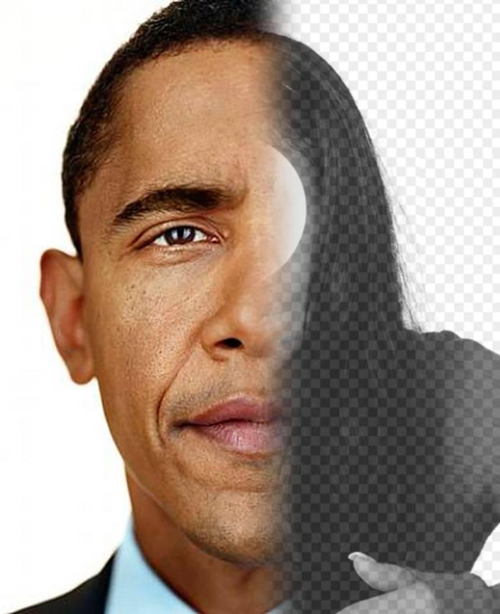 Crea un fotomontaje con la cara del Presidente Obama mezclada con la mitad de tu cara
