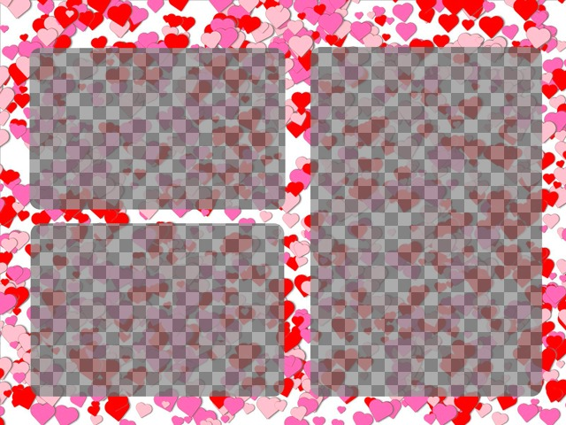 Marco de fotos para 3 fotos de amor con pequeños corazones rojos y rosas sobre fondo blanco
