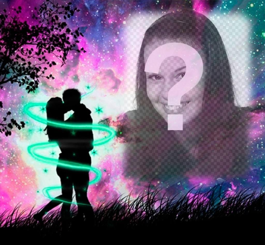 marco fotos amor silueta amantes besandose bosque cielo estrellado violeta