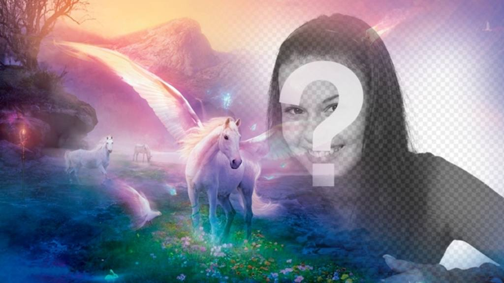 fotomontaje fantasia poner foto unicornios blancos un paisaje ensueno fantastico