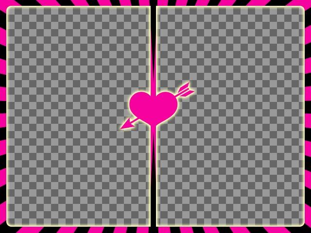 Marco para dos fotos fucsia y negro con un corazón con flecha en el centro para crear collages con tus fotos románticas