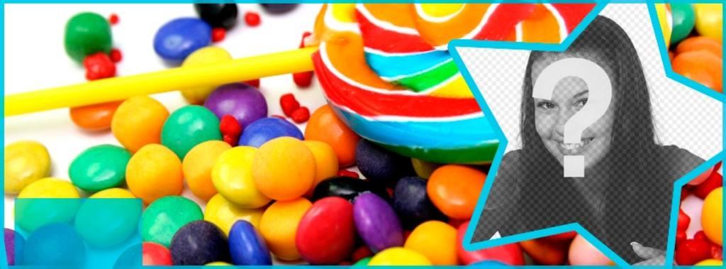 Personaliza la portada de tu perfil de Facebook con caramelos y piruletas y tu foto dentro de una estrella