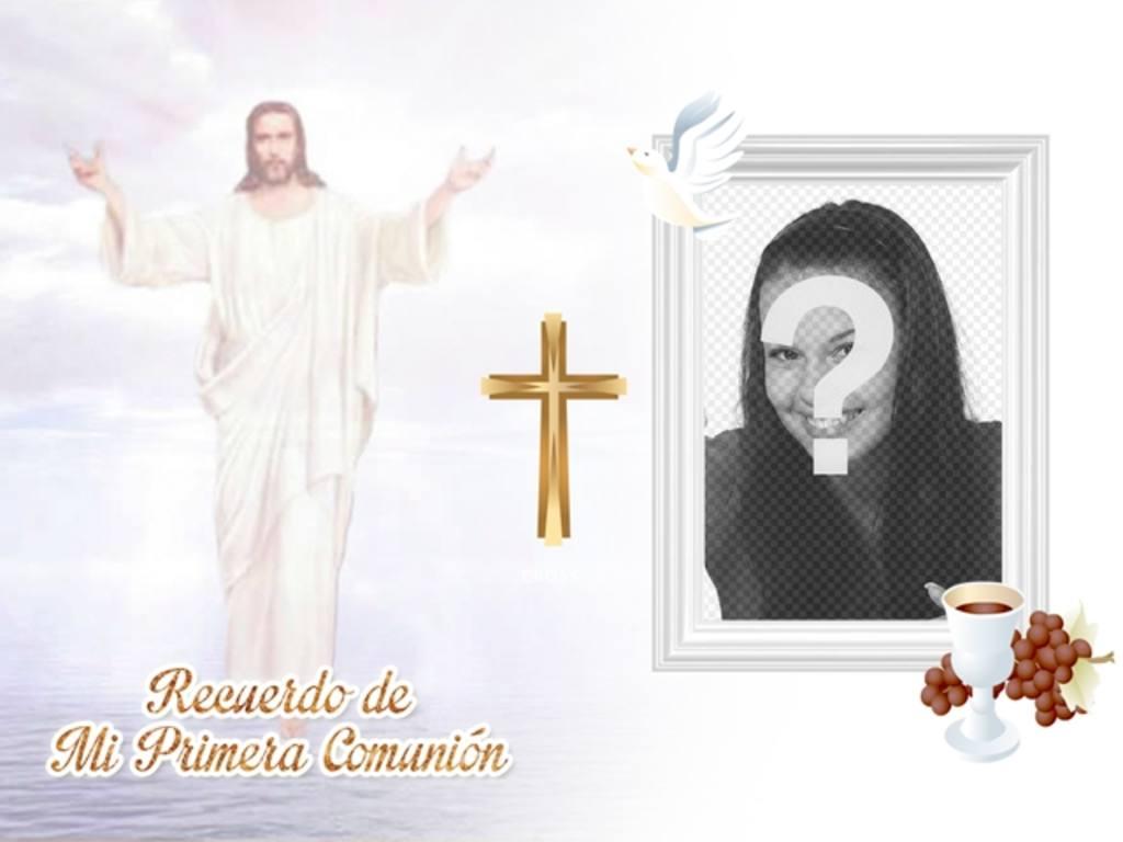 recuerdo primera comunion imagen jesucristo cielo