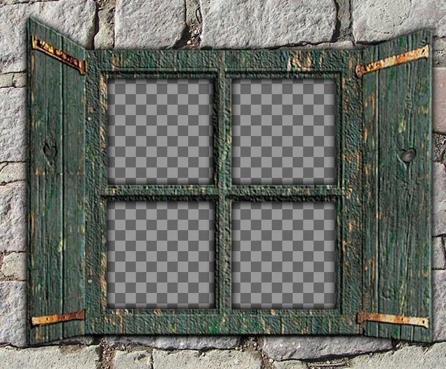 Collage para poner cuatro fotos en una ventana de madera verde sobre una pared de piedra y crear fotomontajes online