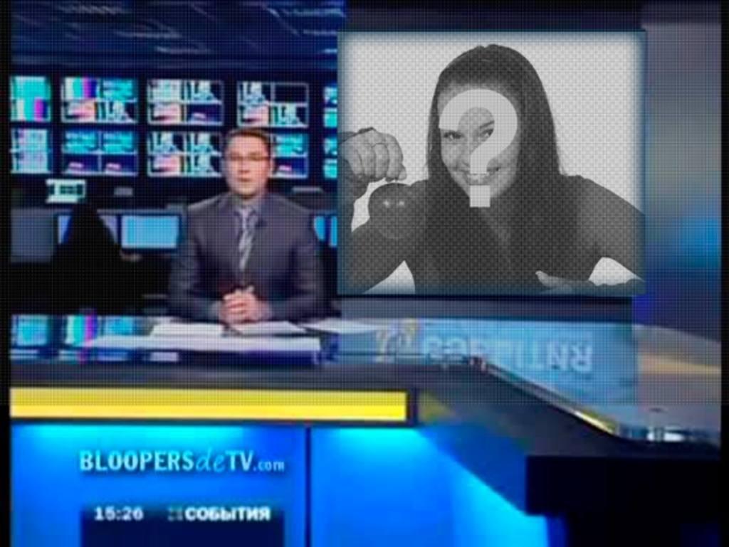 fotomontaje aparezcas pantalla un programa television un presentador noticias