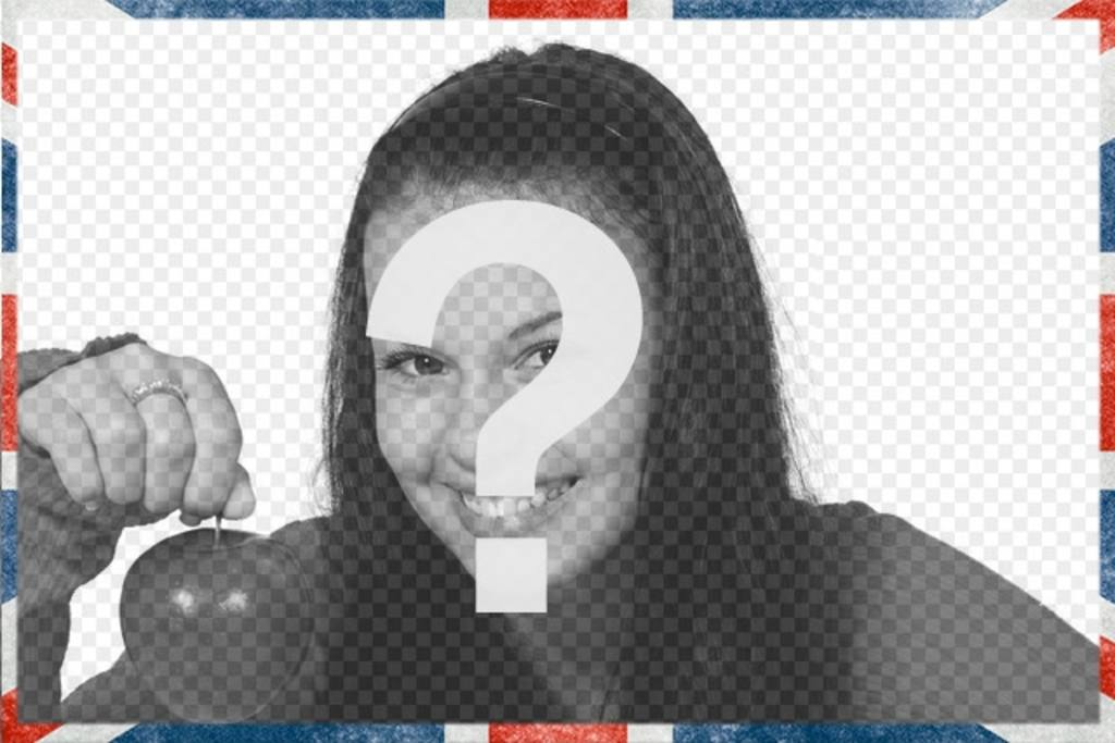 Marco de fotos con la bandera de Reino Unido estilo grunge para decorar tus fotos online