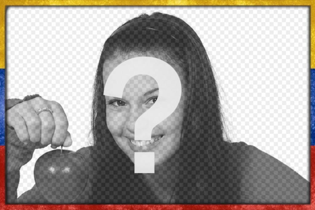 Marco de fotos con la bandera de Venezuela con un estilo Grunge desgastado con la que personalizar tus imágenes