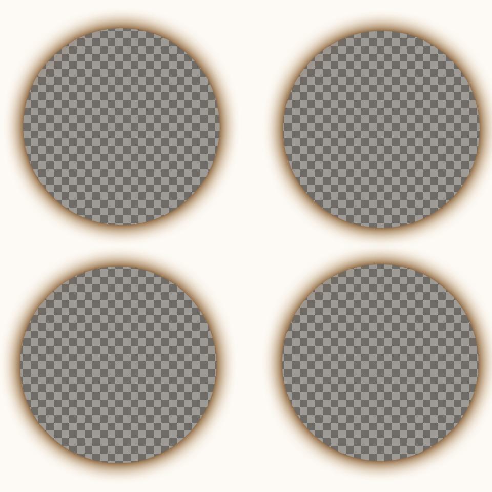 Crea un collage compuesto por cuatro fotografías con forma circular con un filtro sepia y un sombreado alrededor de cada foto