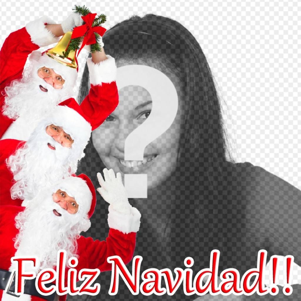 postal enviar navidad puedes poner foto 3 papa noel desean feliz navidad