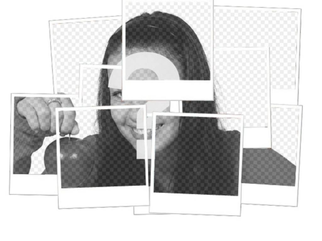 mosaico fotos polaroid fondo blanco efecto mosaico fotos