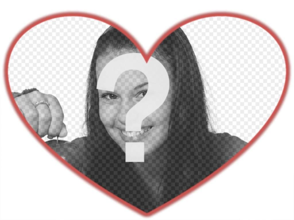 Máscara para fotos con forma de corazón y borde rojo donde puedes poner una imagen de fondo