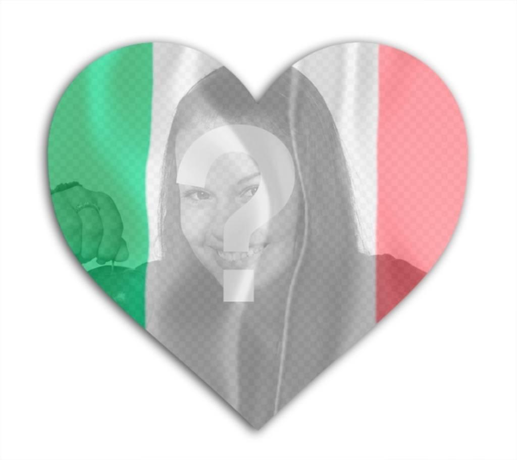 Foto efecto de la bandera de Italia en forma de corazón para poner tu foto