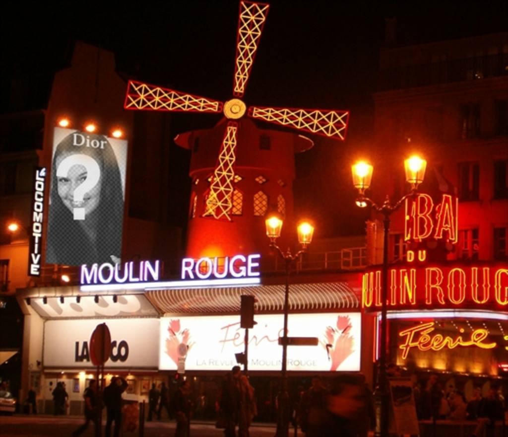 Añade tu foto a un cartel publicitario de Dior en el  Moulin Rouge del barrio rojo de París