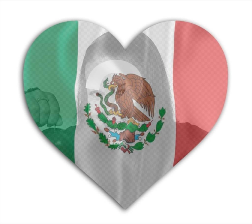 inserta foto corazon bandera mexico fondo
