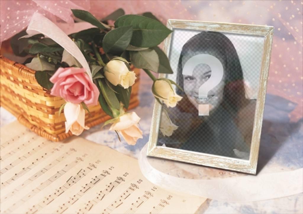 marco fotos online puedes poner imagen un portaretratos cesta rosas partitura musica