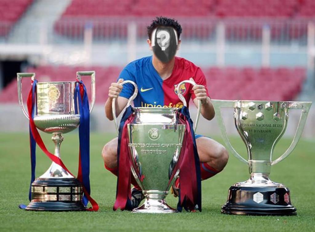 Fotomontaje para hacerte tu foto con el triplete, Copa Liga y Champions el triplete del FC Barcelona