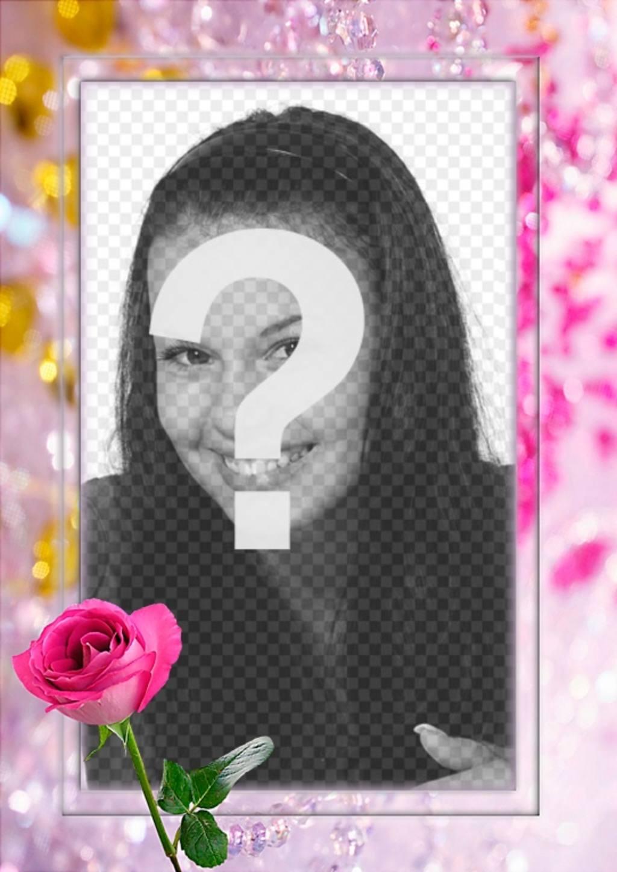 marco fotos rosa puedes poner foto rodeado perlas bonitas diamantes