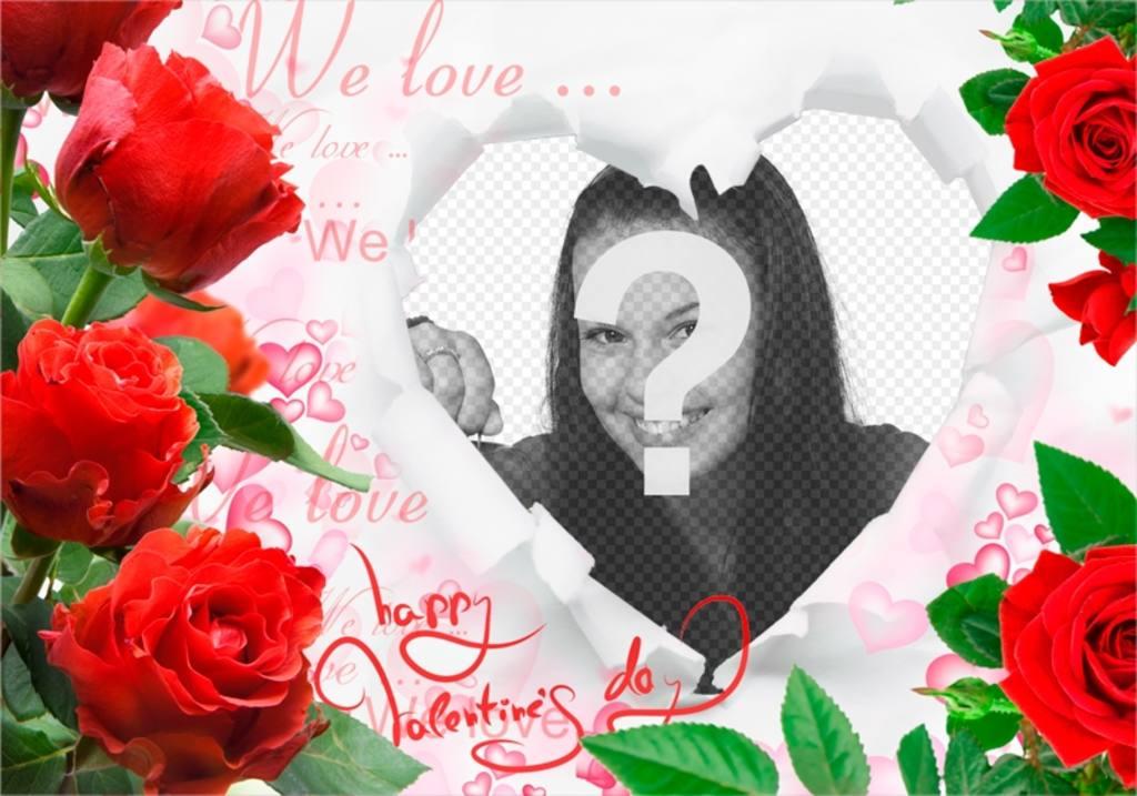 marco romantico rosas un corazon insertar fotos