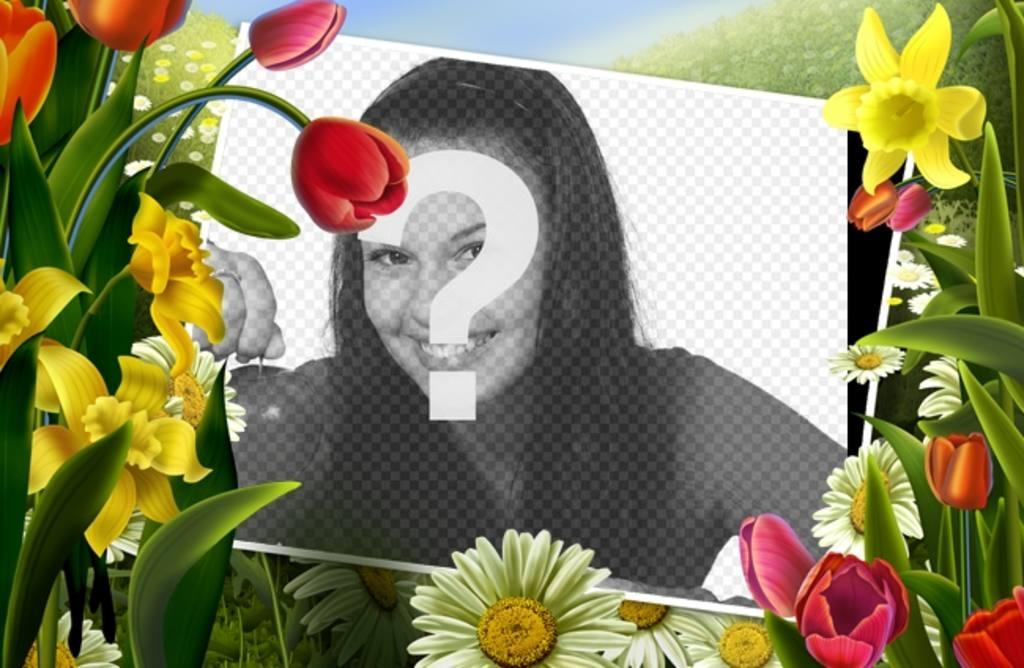 Marco de fotos con dibujos de flores y plantas de primavera