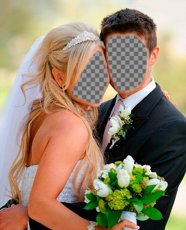 Fotomontaje marido y mujer recién casados en su boda