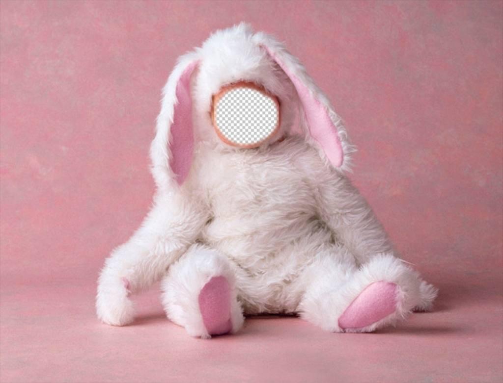 fotomontaje bebe disfrazado conejito