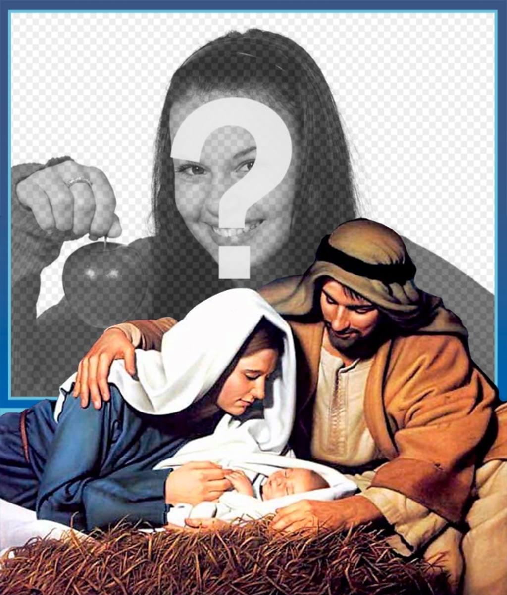 Fotos Del Nacimiento De Navidad.Tarjeta Del Nacimiento En El Pesebre De Navidad Con Tu Foto