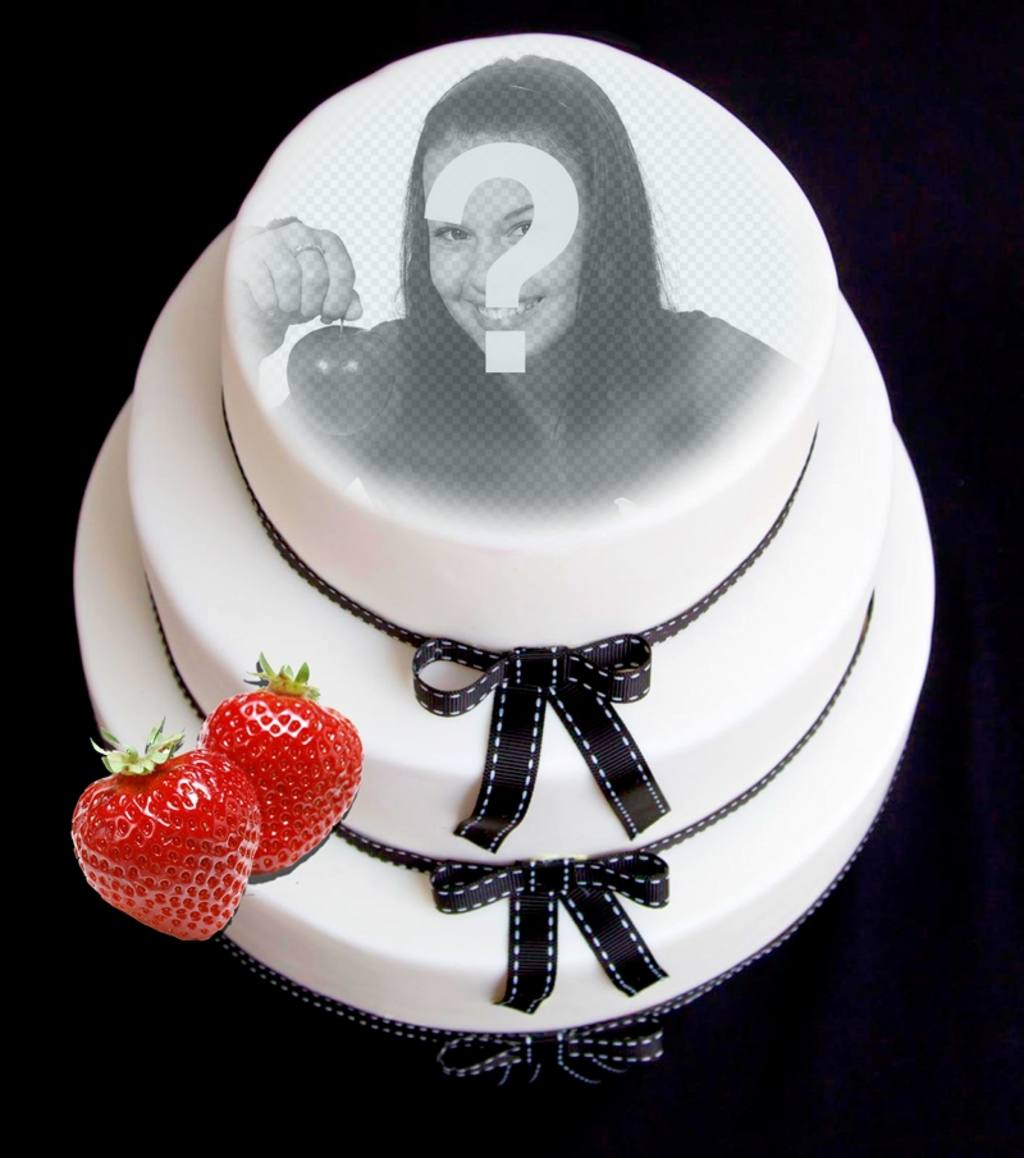Fotomontaje para poner tu cara en una tarta de fondant con fresa