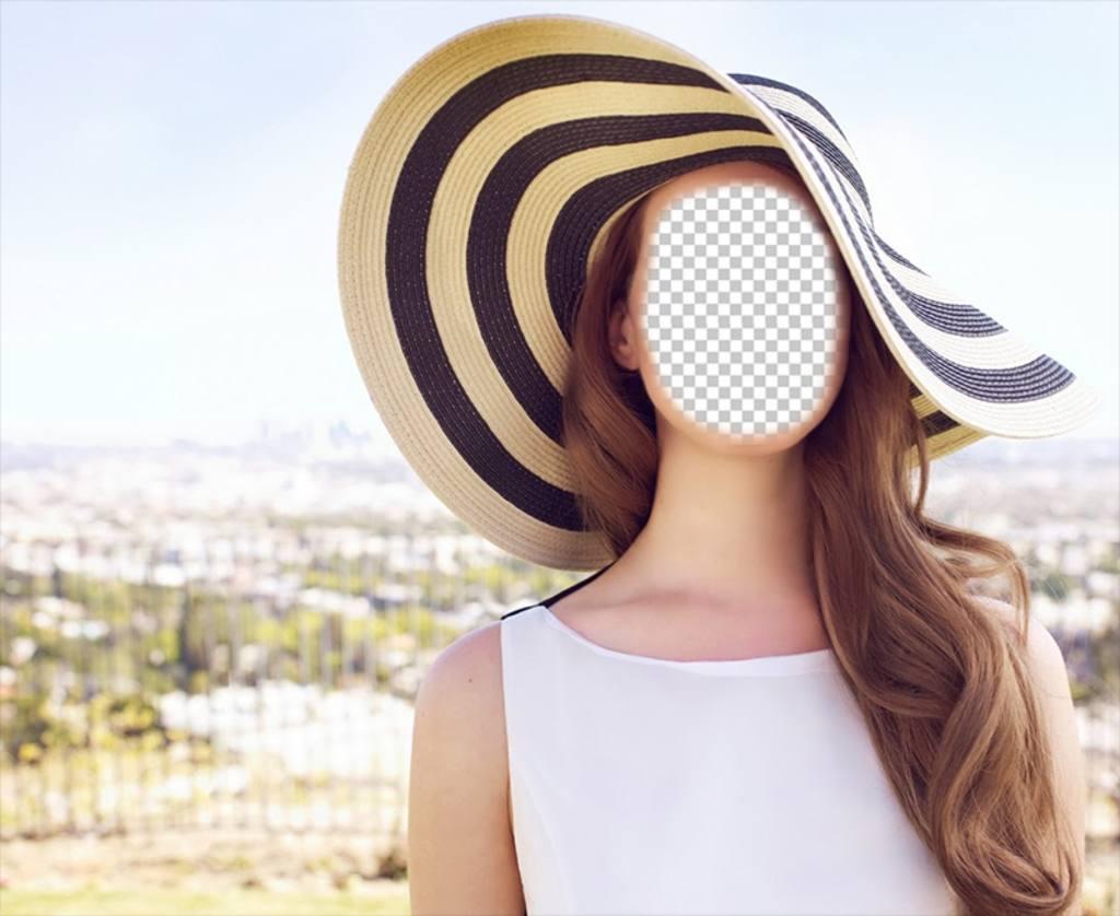 Fotomontaje para editar de Lana del Rey posando al sol con un gran sombrero