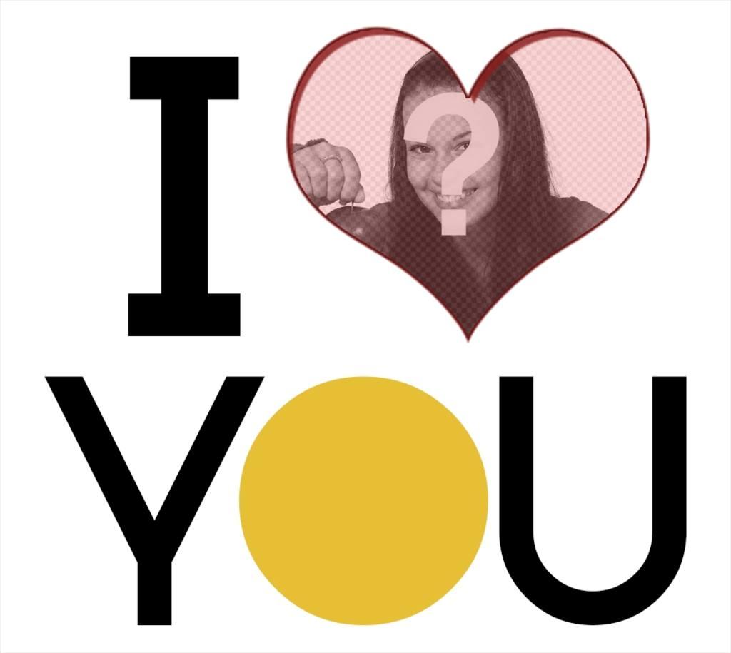Marco En Forma De Corazón Con I Love You En Letras Grandes Para