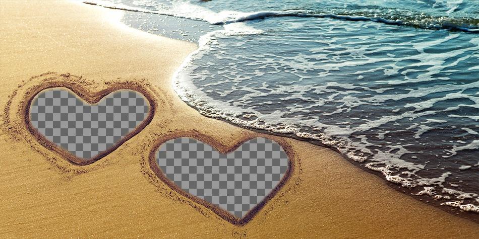 Collage de amor con dos corazones marcados sobre la arena en la playa