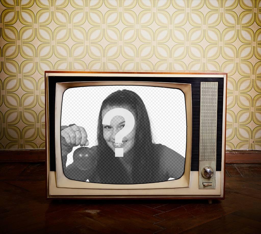Marco en forma de televisión antigua en un fondo de los 80 - Fotoefectos