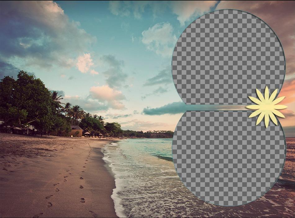 Collage de amor en una playa tropical para poner dos fotografías sobre el mar mientras atardece