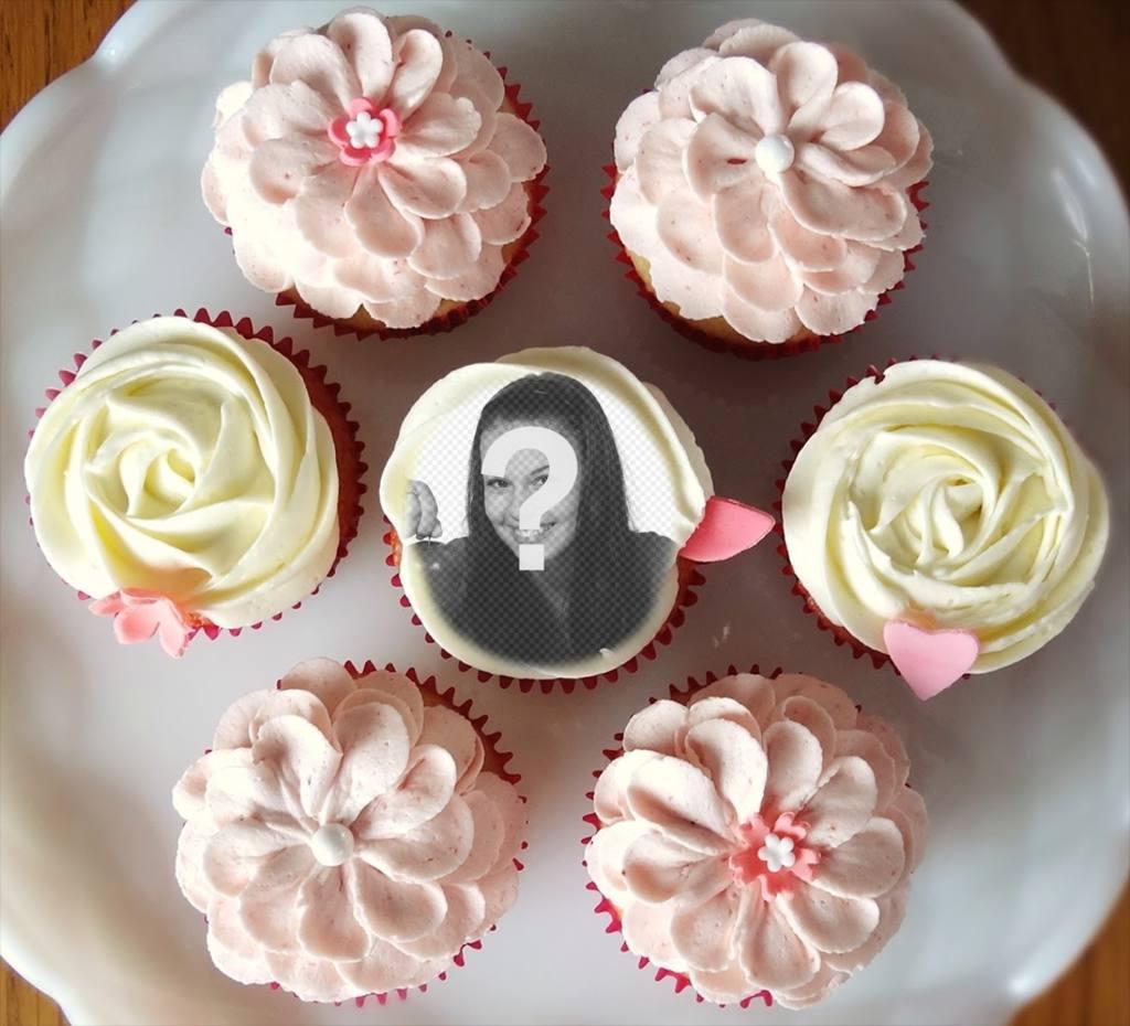 Fotomontaje para poner tu fotografía dentro de un cupcake, rodeado de muchos