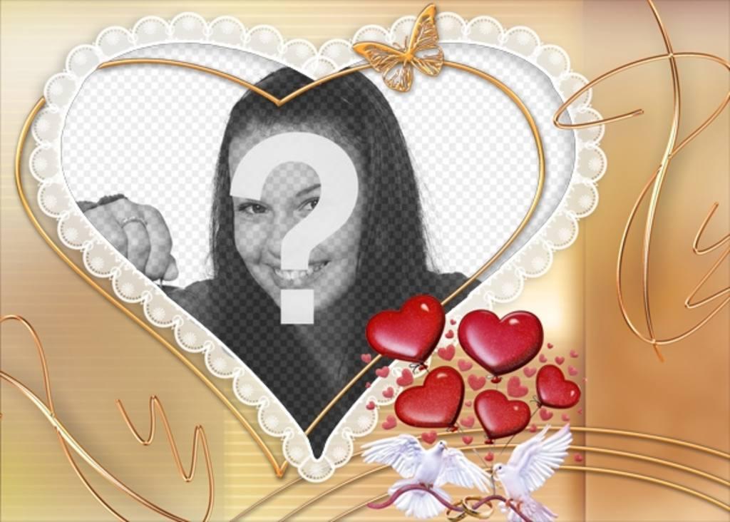 marco fotos forma corazon detalles palomas blancas corazones