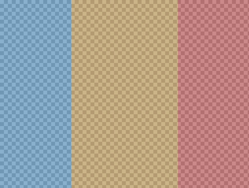 Pon tus tres fotos en collage con tres colores distintos a modo de filtro