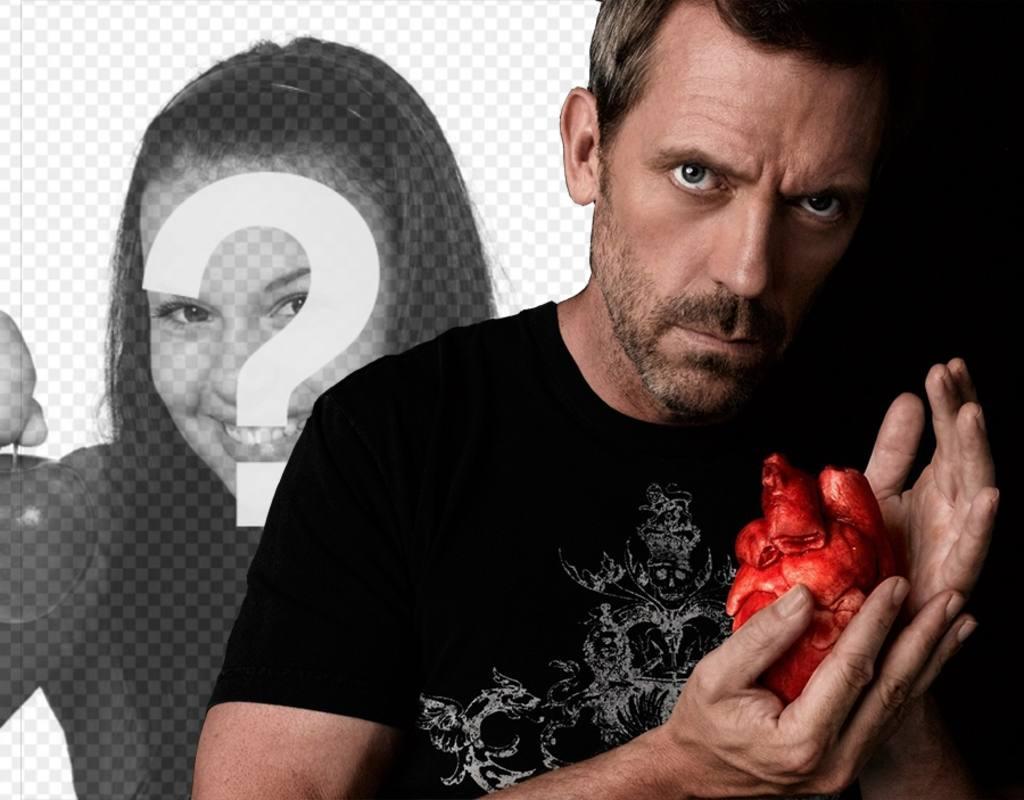 Fotomontaje Con El Dr.House Agarrando Un Corazón Mirando
