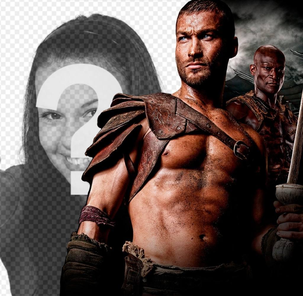 Fotomontaje junto a Espartaco de la serie Sangre y Arena