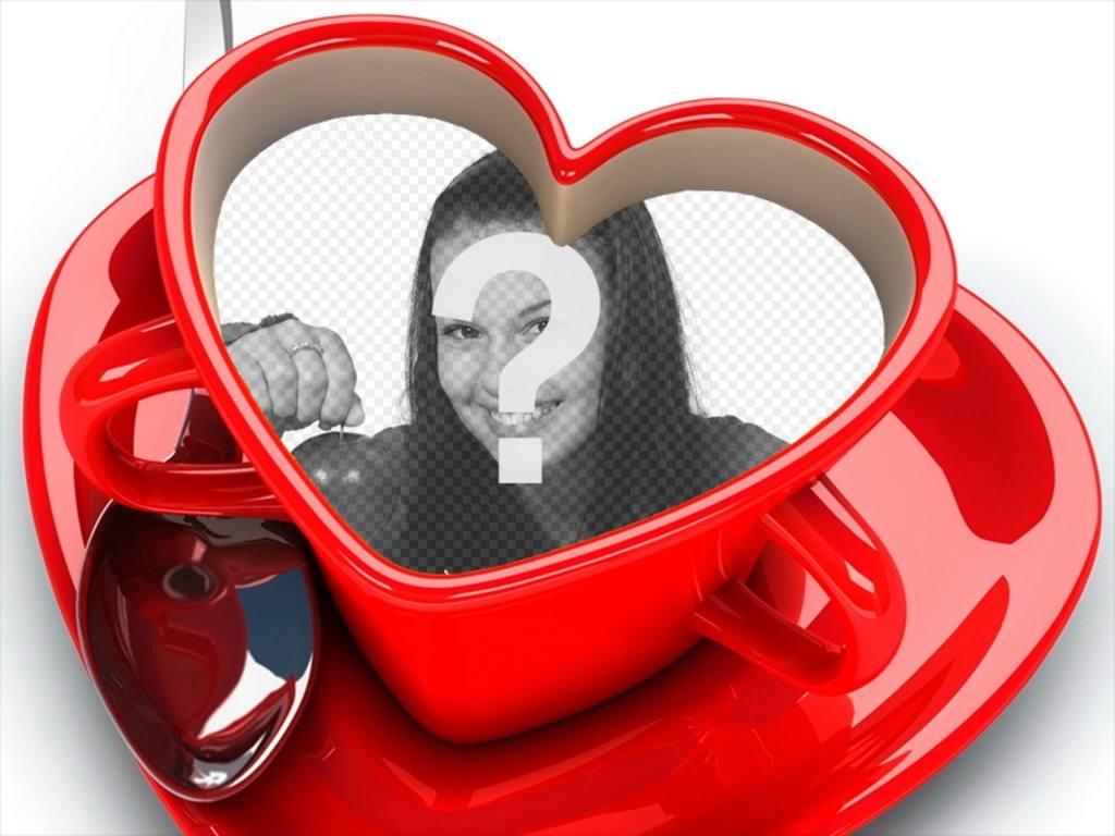 Taza de café en forma de corazón con tu fotografía dentro