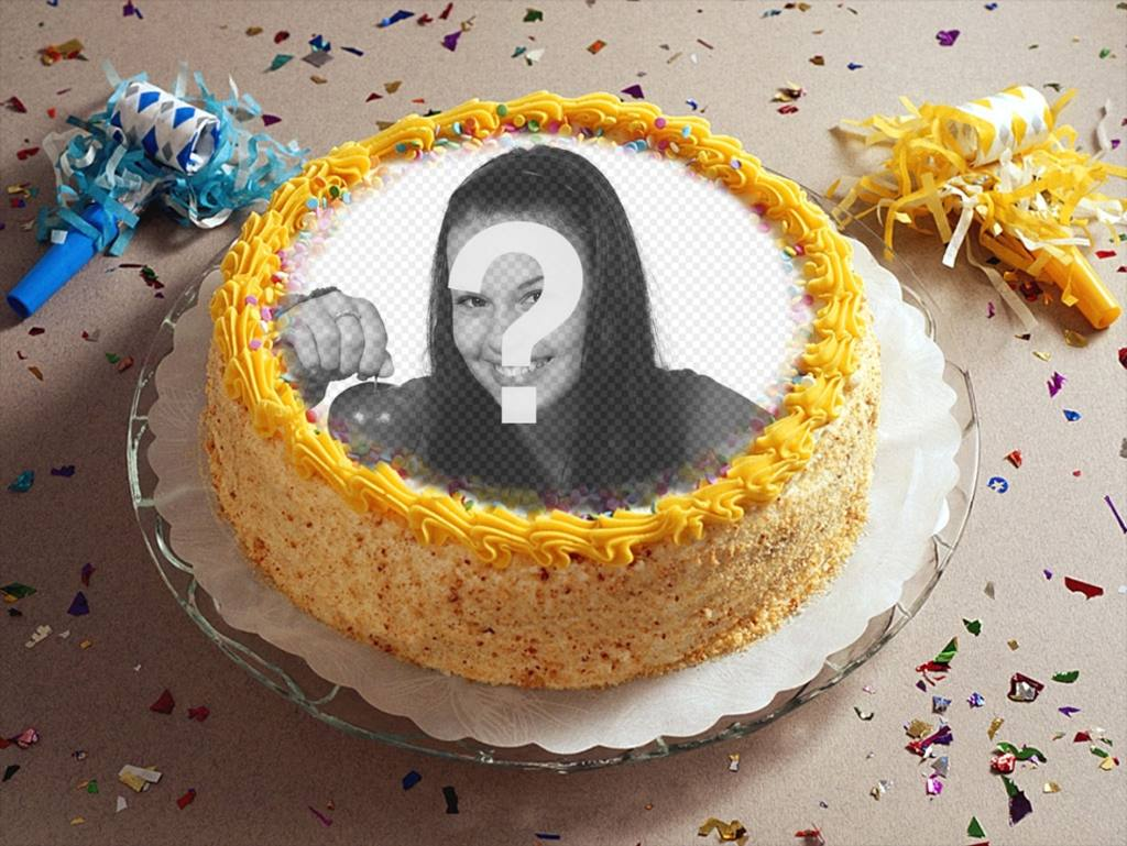Fotomontaje con fiesta, confetti y una tarta de cumpleaños