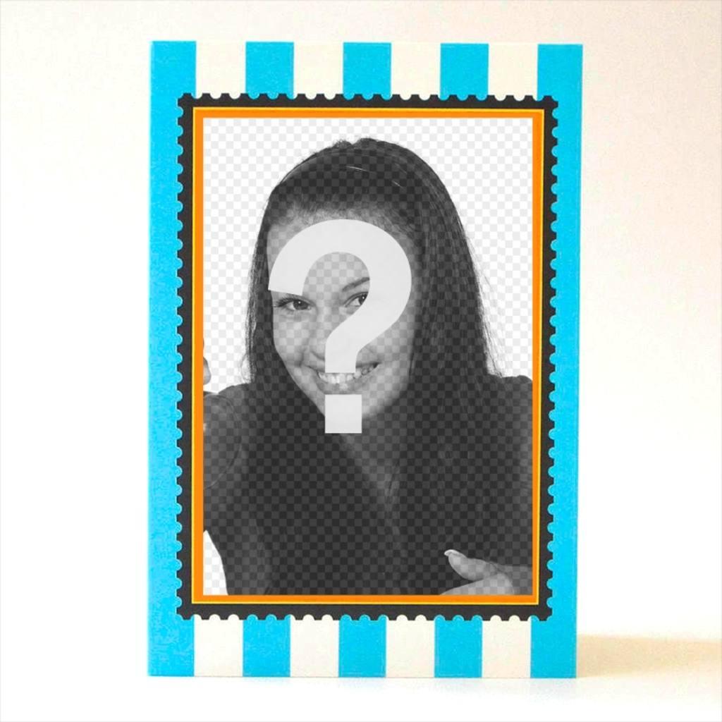 Tarjeta postal a rayas azules con espacio para escribir y marco de ...