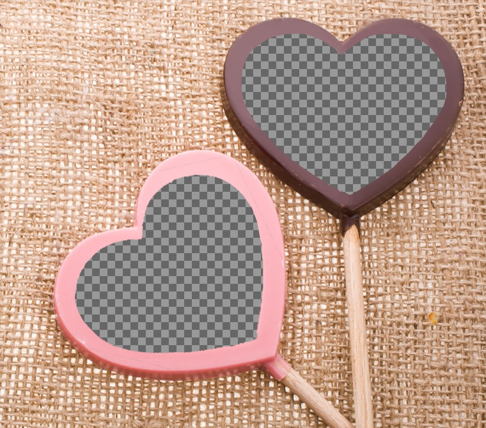 Collage de amor para colocar dos fotografías en piruletas de chocolates de color