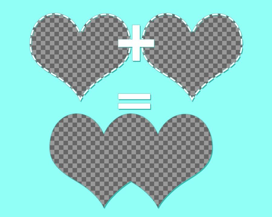 Collage para tres fotografías con dos corazones sumándose y un resultado fusionado