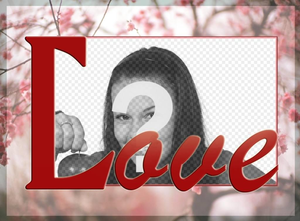 enmarca foto un fondo cerezos flor palabra love
